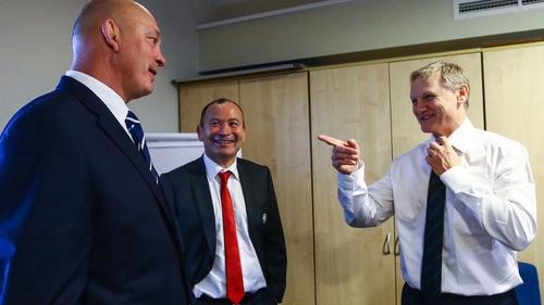 Joe Schmidt (R) with England coach Eddie Jones (C) and former Scotland head coach Vern Cotter