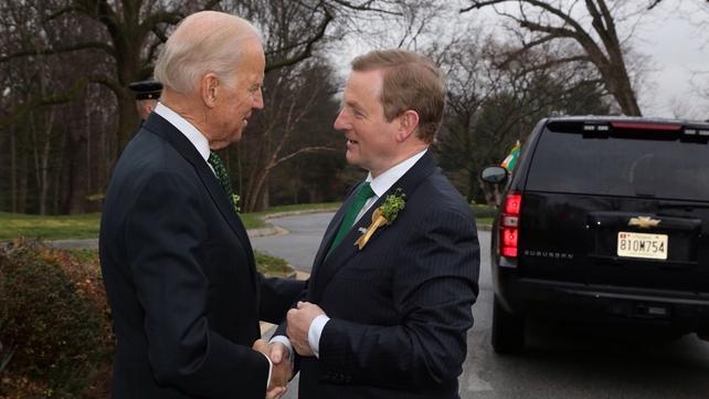 Mr Kenny spoke to Joe Biden at a breakfast reception marking St Patrick's Day