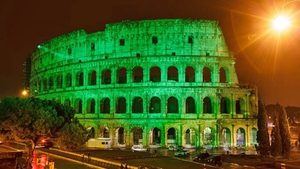 The Colosseum in Rome turns green for St Patrick's Day