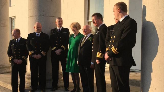 President Michael D Higgins and his wife Sabina with members of the Irish Navy outside Áras an Uachtaráin