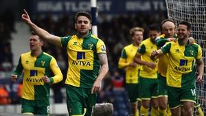 Robbie Brady leads the Norwich celebrations
