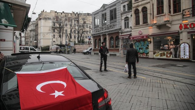 The blast was a few hundred metres from an area where police buses are often stationed and sent panicked shoppers scurrying into side alleys off Istiklal Street