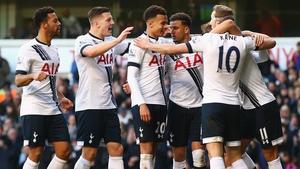 Spurs celebrate Christian Eriksen's goal