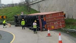 Truck was on slip road near the Red Cow on the M50 northbound (pic: Dublin Fire Brigade)