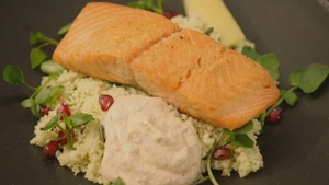 Crispy Salmon with Pomegranate and Watercress Couscous