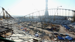The Khalifa International Stadium is under construction for the 2022 World Cup in Qatar