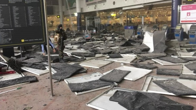 Explosion ripped through the departures hall at the airport