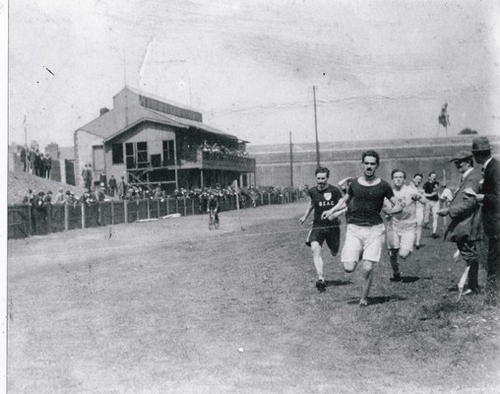 Thomas Burke winning a race at the GAA grounds on Jones' Road Croke Park (Courtesy GAA)