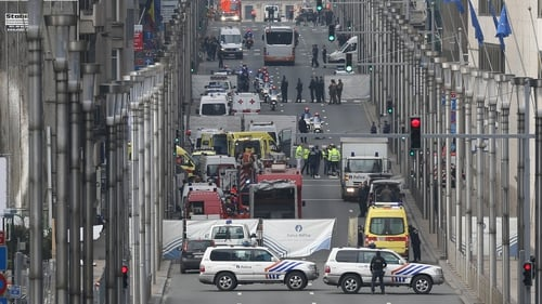 Emergency workers at Rue de la Loi, after an explosion at Maelbeek Metro station