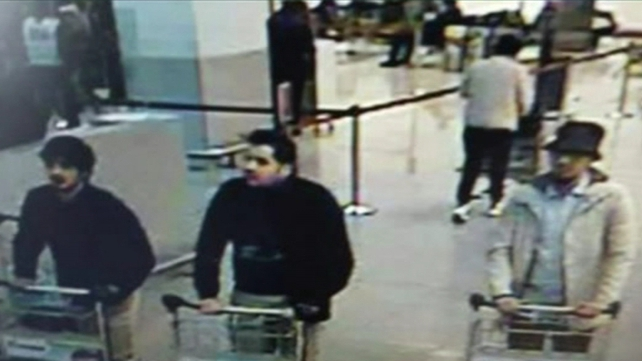Surveillance camera images of three suspects in the attack on Brussels airport