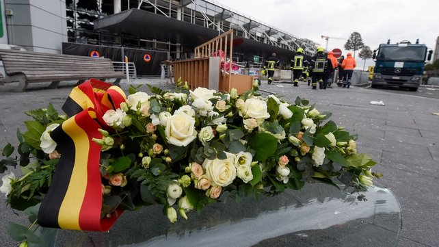 A floral display at Brussels airport