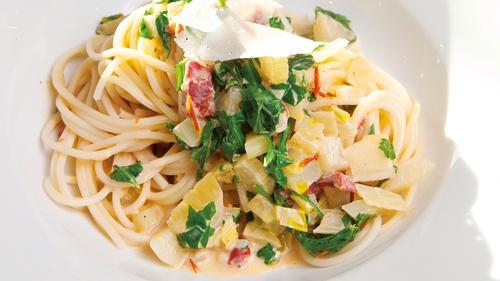 Spaghetti, fennel, tomatoes: Catherine Fulvio