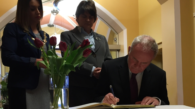 NI's Deputy First Minister Martin McGuinness also signed a Book of Condolence