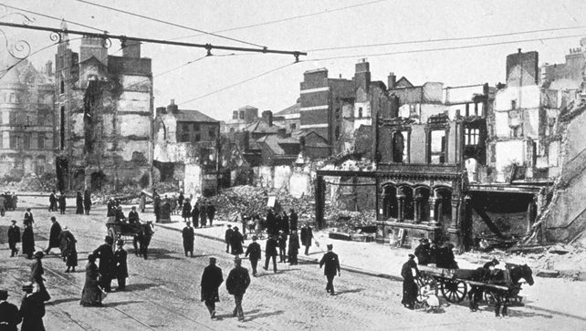 Damage in O'Connell Street after the Easter Rising, 1916
