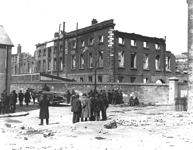 Ruins of Linenhall Barracks, Dublin, in the wake of the Easter Rising (1916)