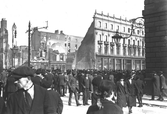 The Imperial Hotel on O'Connell Street, after the Easter Rising (1916)
