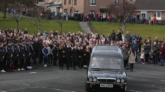 School friends of Mark, Evan and Jodie-Lee were among the mourners