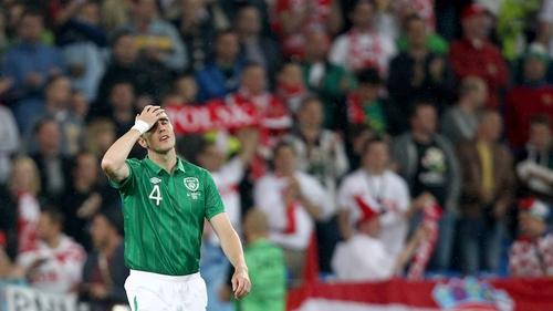 A dejected John O'Shea during the Euro 2012 defeat to Croatia