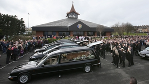Hundreds of mourners gathered today for the funeral at the Holy Family Church in Ballymagroarty