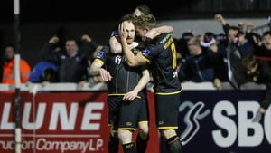Stephen O'Donnell celebrates opening the scoring with his Dundalk team-mates