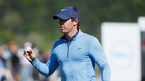 Rory McIlroy in action during his WGC-Dell Match Play defeat of Smylie Kaufman