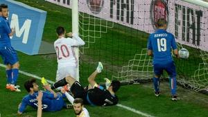 Spain's Aduriz Aritz scores against Italy in Udine