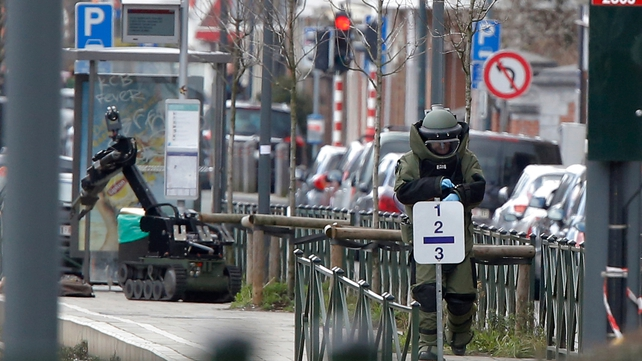 Bomb disposal experts at the scene in Schaerbeek today