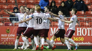 Galway United players celebrate John Sullivan's goal in their opening-night win at St Pat's