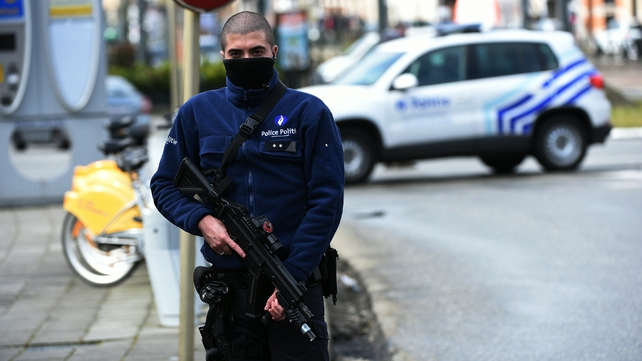 Police have maintained a heavy presence throughout Brussels today