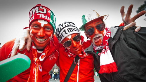 Swiss football fans get into the mood before the Ireland-Switzerland friendly in Dublin in 2016