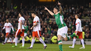 Ireland centre-half Ciaran Clark celebrates scoring his goal against Switzerland