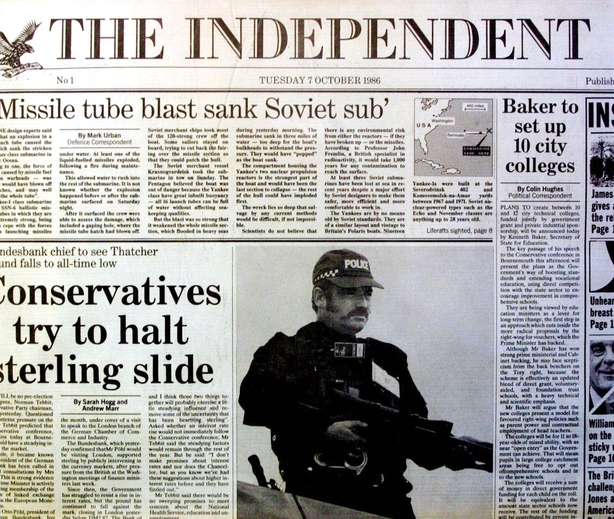 The front page of the first edition of the Independent