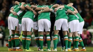 The Republic of Ireland team huddle together before the in over Switzerland