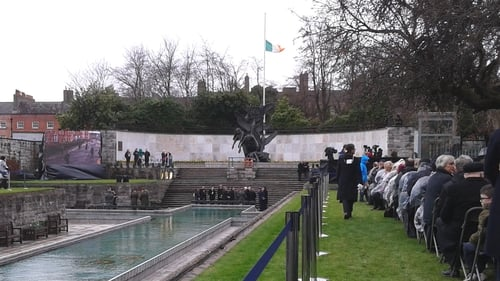 Relatives of those who fought in the Rising gathered at the Garden of Remembrance for the wreath laying ceremony