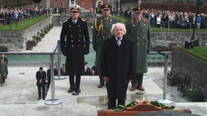 President Michael D Higgins laid a wreath in honour of those who fought for Irish freedom