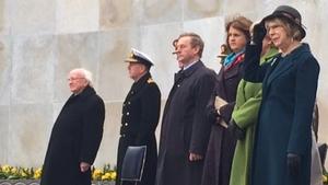 Acting Taoiseach Enda Kenny, acting Tánaiste Joan Burton and acting Minister for Arts Heather Humphreys attended the ceremony