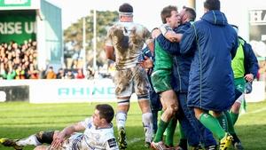 Connacht's Kieran Marmion celebrates his try with teammates
