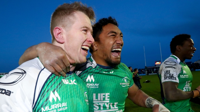 Connacht's Matt Healy and Bundee Aki celebrate victory over Leinster