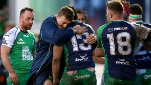 Connacht's Peter Robb and Bundee Aki celebrate after the final whistle