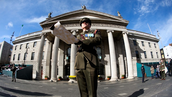 Captain Peter Kelleher reads the Proclamation of the Irish Republic at the GPO