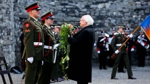 President Higgins laid a wreath at the Stonebreakers' Yard at Kilmainham Gaol this morning, where the leaders of the Rising were executed