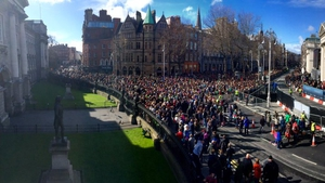 The crowds at College Green outside Trinity College