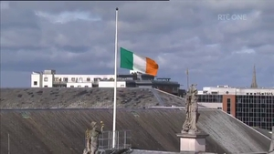 The Irish flag was lowered to half mast during the event