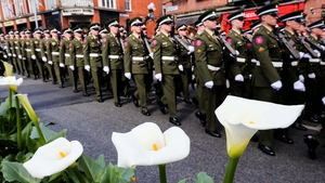 Soldiers march down Dame Street