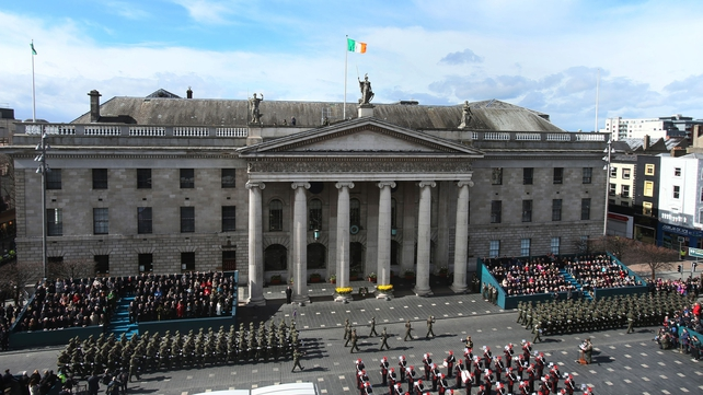 The parade passes the GPO on O'Connell Street