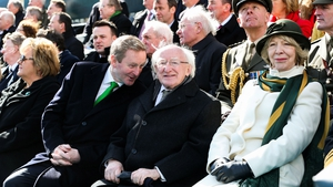 Acting Taoiseach Enda Kenny, with President Michael D Higgins and his wife Sabina