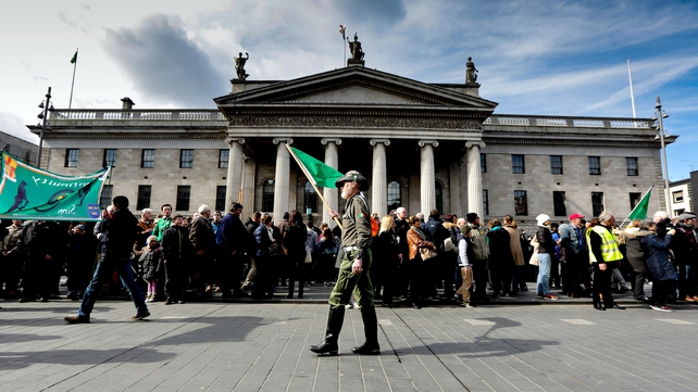 Parade pacing at the GPO as part of the Reflecting the Rising event
