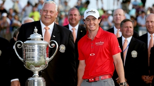 McIlroy gets ready to accept the Wanamaker Trophy after his 2012 USPGA triumph