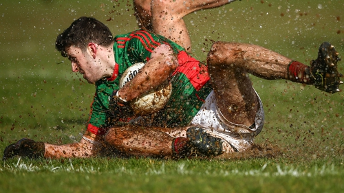 Mayo's Brendan Harrison slides in wet conditions at Hyde Park on Sunday