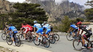 Cyclists climb the Bavella col during the third and last stage of the 85th International Criterium of Porto Vecchio